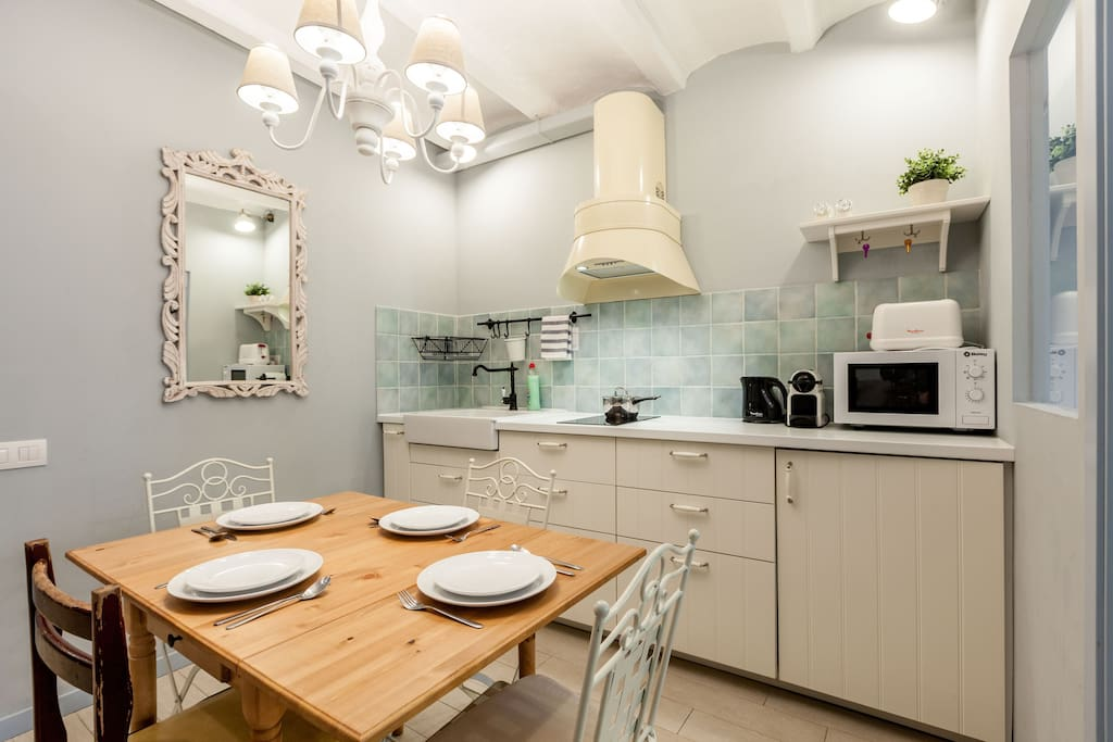 New, modern kitchen, fully equipped for cooking and eating