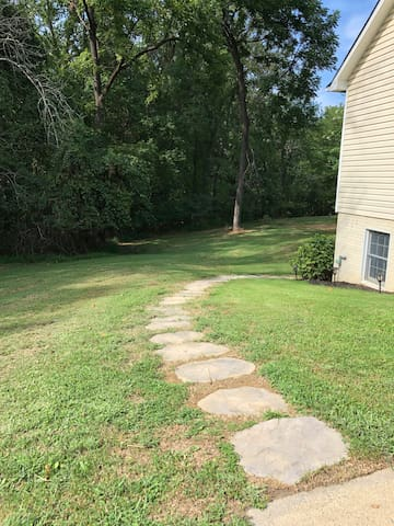 The stone pathway leads you to your private entrance.