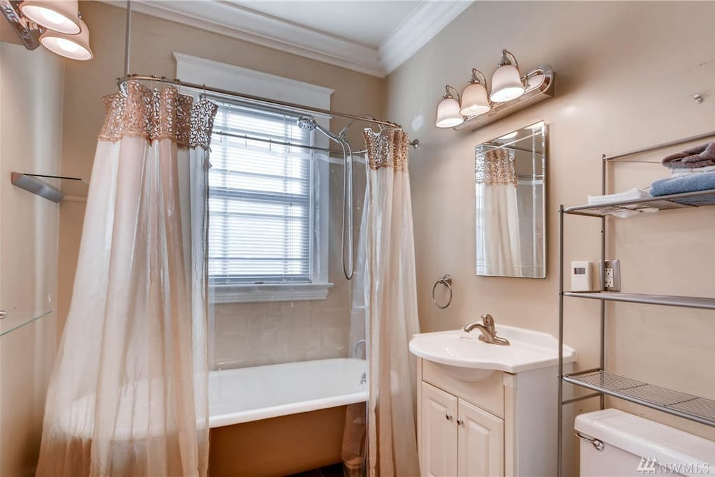 Shared bathroom on first floor with heated floors