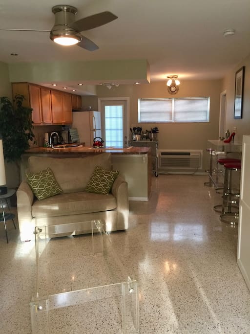A spacious, open living/kitchen/dining area welcomes you!