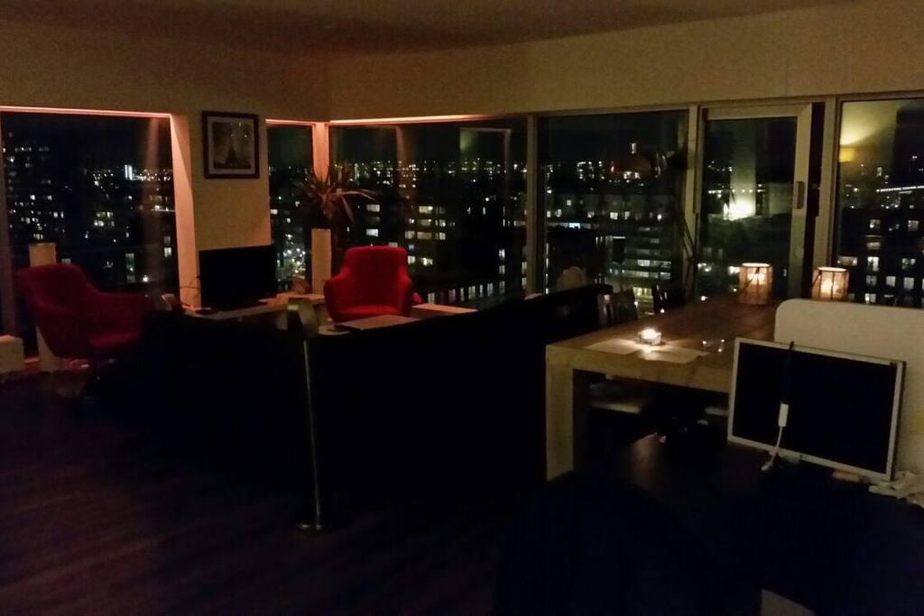 Amazing Panorama night view over Amsterdam