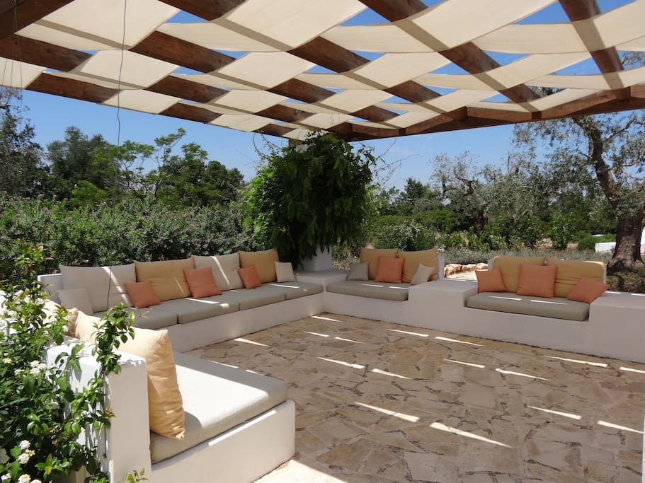 Shaded outdoor seating area
