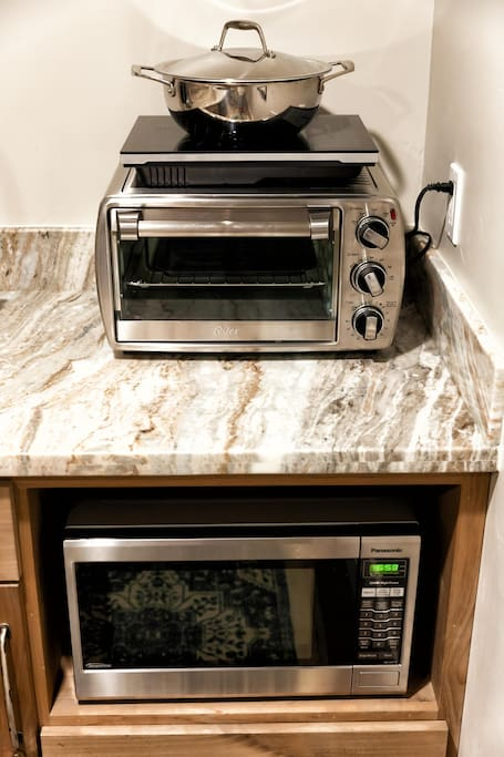 Microwave, toaster oven, and hot plate