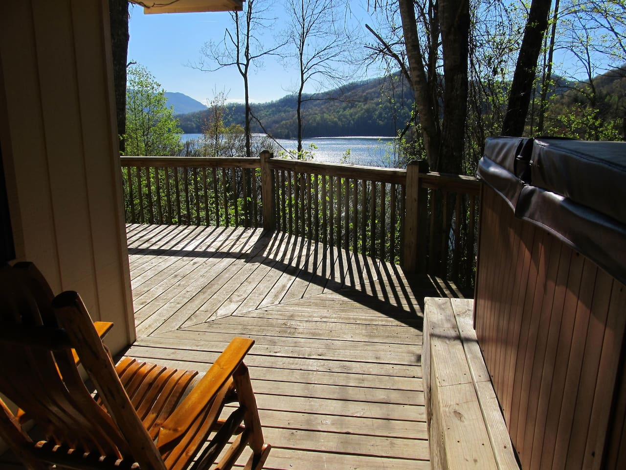 Great view from cover deck with hot tub and charcoal grill and fireplace, for outdoor fire fun!