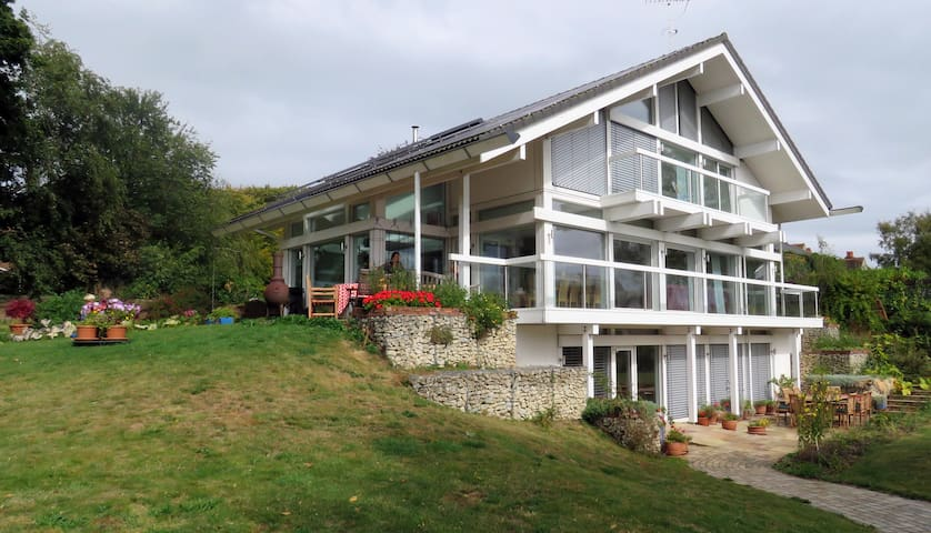 Self contained flat in Huf Haus with heated pool