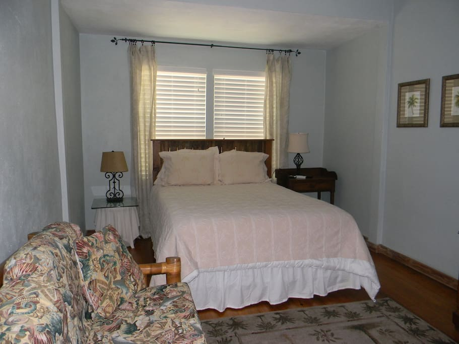 Large bedroom with queen size bed, TV and closet