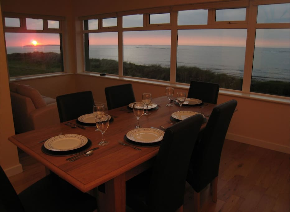 Dining room at sunset.