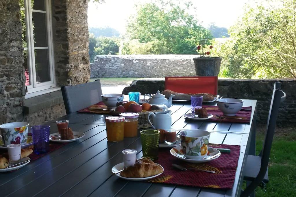 """Petit-déjeuner """"maison""""avec les produits de la Ferme."""