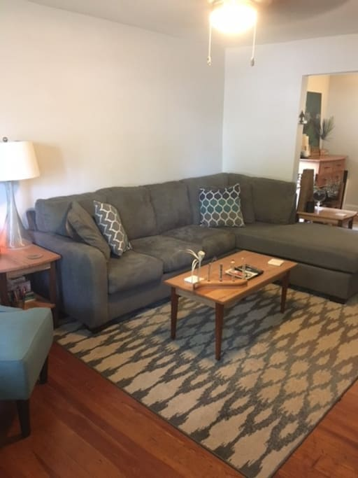 Spacious living room with sectional