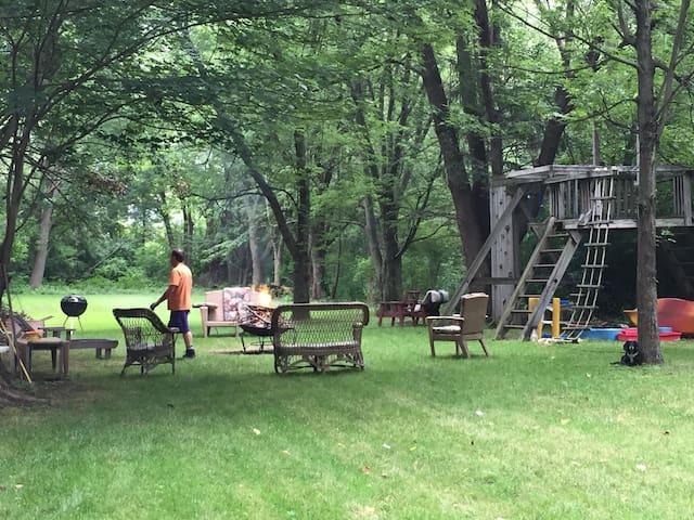 A big backyard that feels like a park.