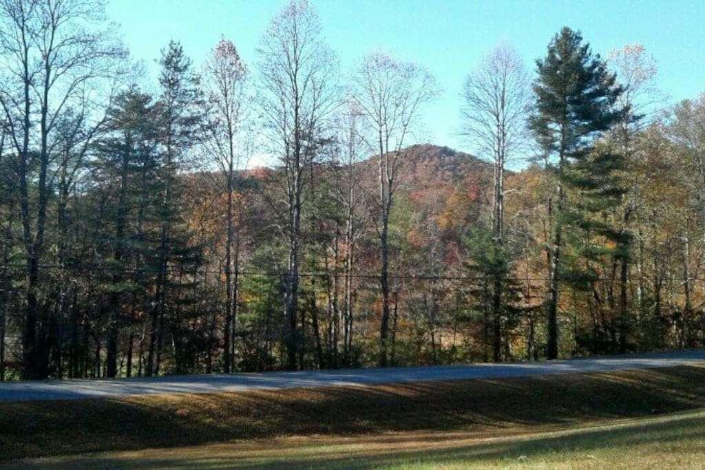 View from house across Boardtown Road showing mountain scenery