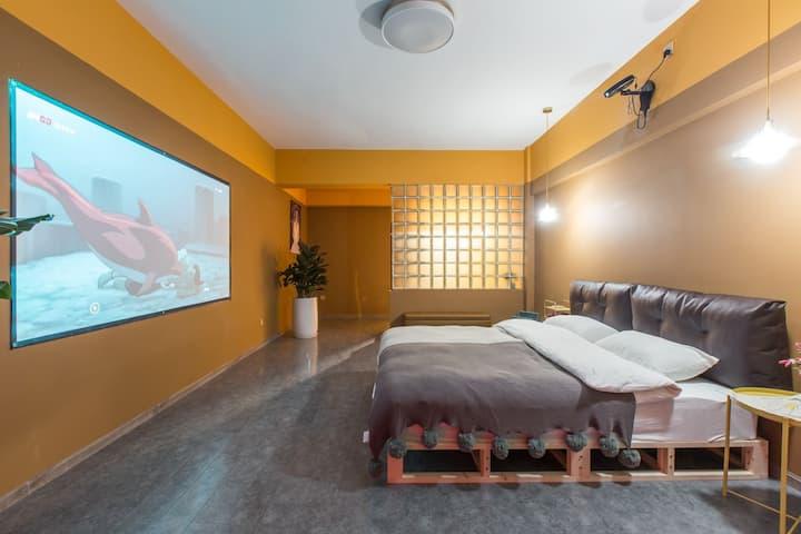 【都市马卡龙】都江堰景区,青城山超大投影套一公寓