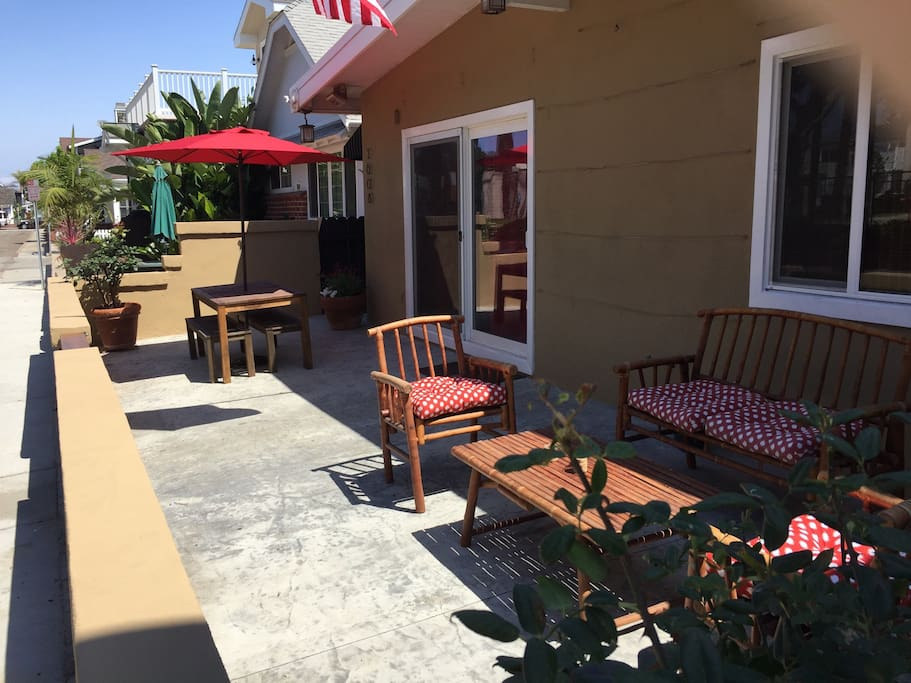 Spacious front patio for relaxing and entertaining.