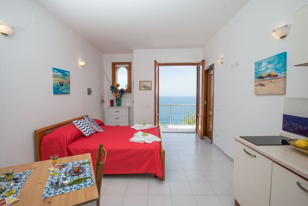 the studio and its private balcony with sea view