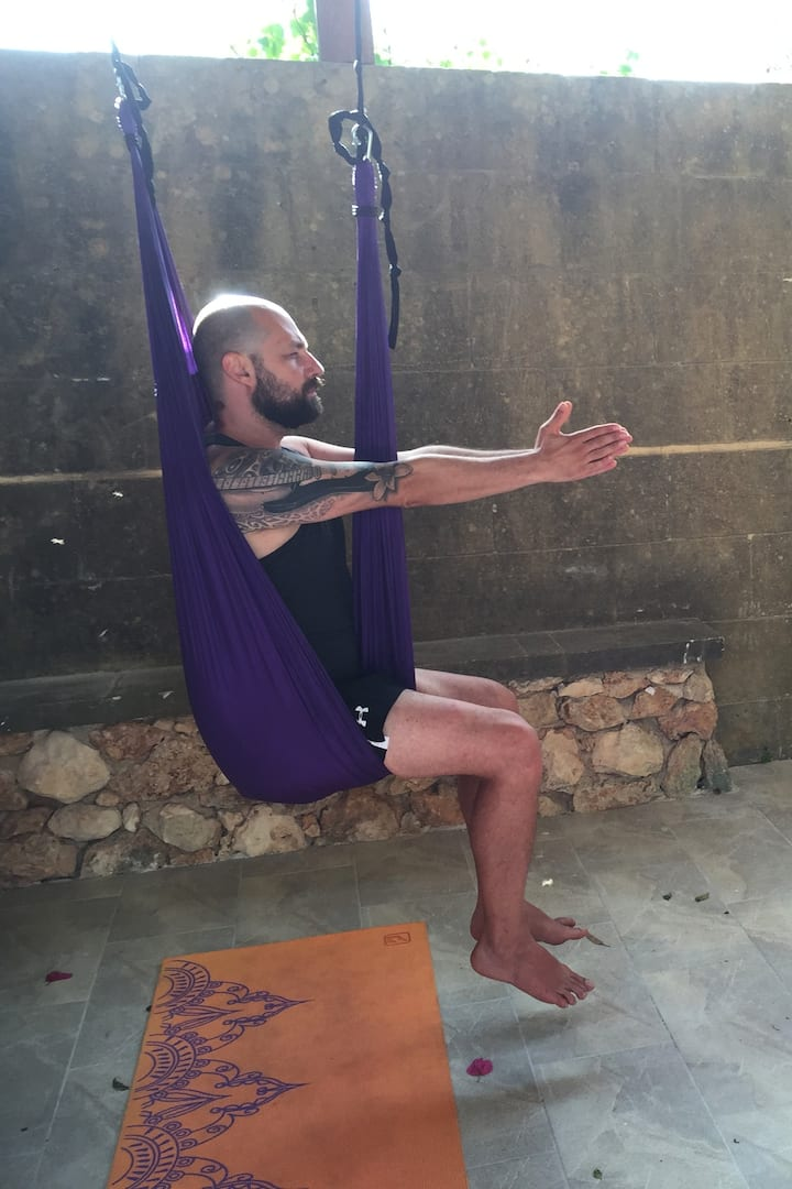 Exercise with the use of Aerial hammock