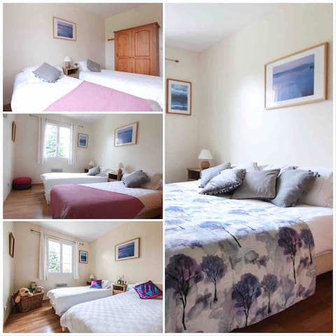 Bedroom 2 - sleeps 2. Single or double configuration available. This bedroom is on the ground floor.