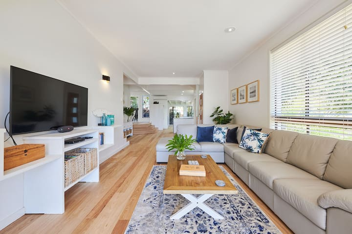 Open plan living with balcony