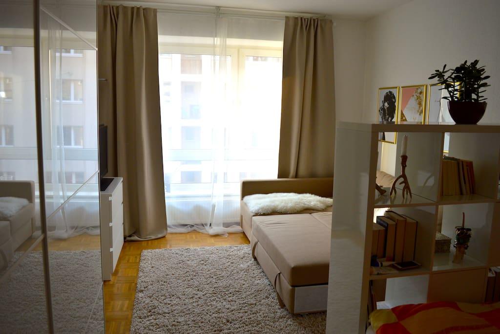 Schlaf-/Wohnzimmer mit ausklappbarem Schlafsofa