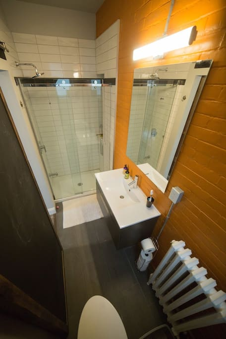 Clean, Bright Bathroom With Full-Sized Standup Shower