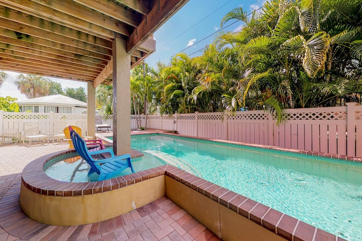 New listing! Spacious home with heated private pool, and gas grill.