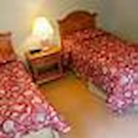 The second bedroom features twin beds