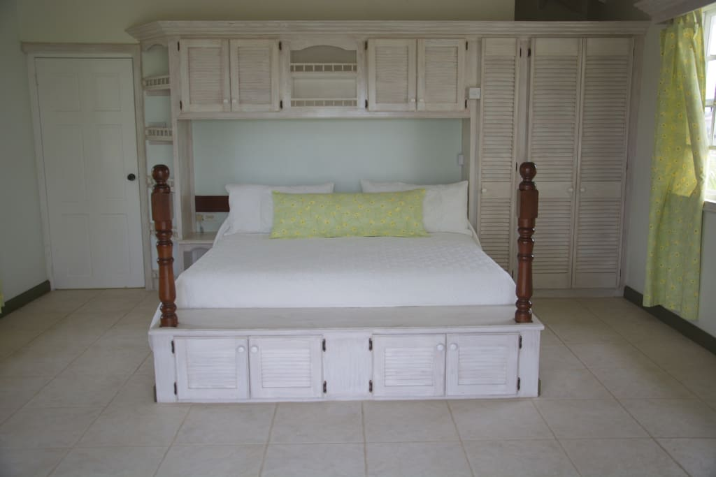 Separate bedroom with king-sized bed