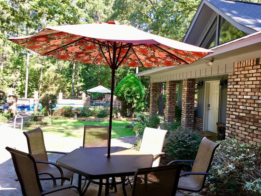 You are welcome to relax and visit on our patio.  Cooler Fall weather makes it so nice to have your coffee outside.