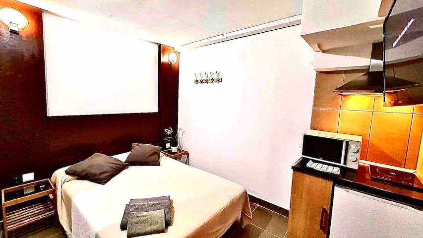 1 Loft, cocina, baño y entrada privada con A/C T3