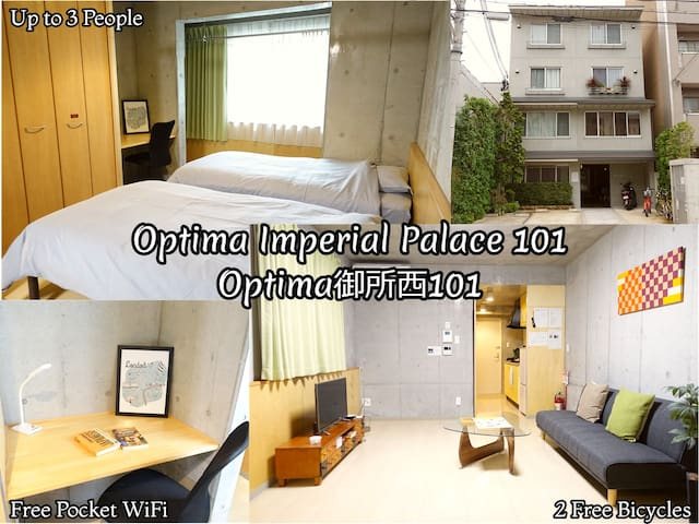 Central Kyoto/Imperial Palace 5min/Apartment for 3