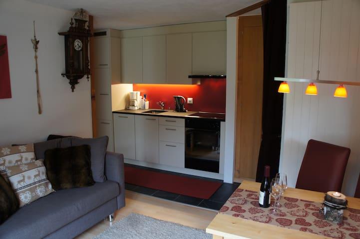 Küche mit Wohn- und Essbereich