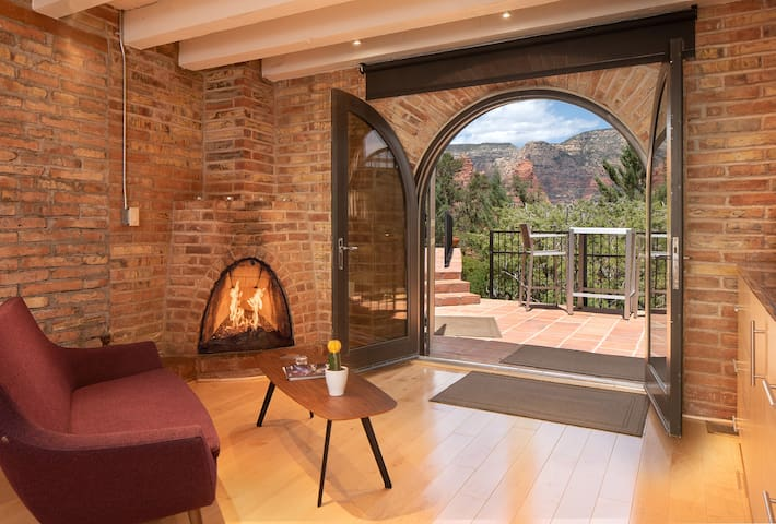 Stunning views, romantic fireplace and a private patio