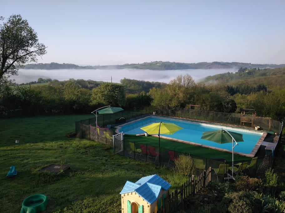 Our large shared pool with fabulous views over the gorge