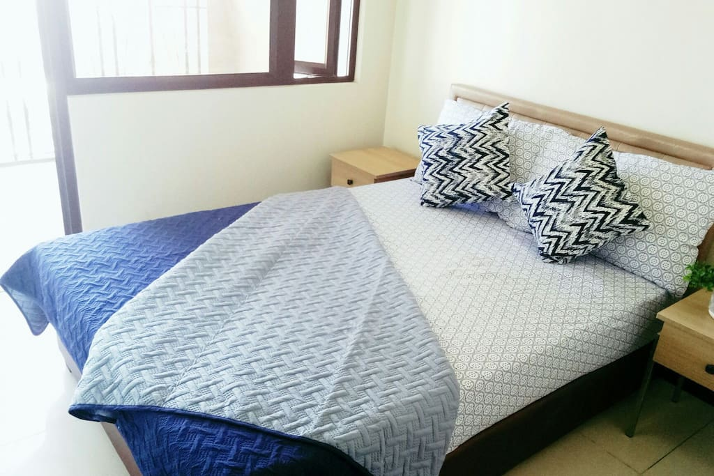 A very clean and comfortable queen-sized bed to ensure a good night's sleep; waking up refreshed and rejuvenated, ready for new adventures.