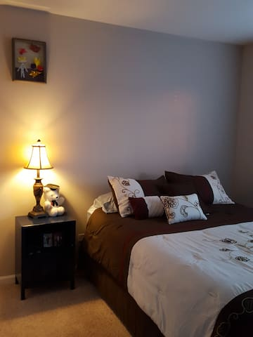 Private new QUEEN Bedroom, internet. - Romeoville - B&B