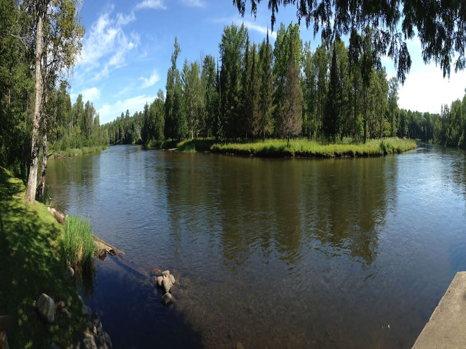 Panorama of AuSable River below cabin