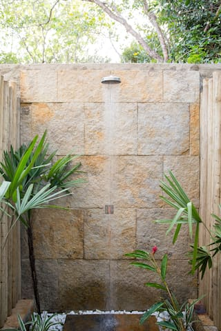 Our private outdoor shower (you'll never want to shower any other way again!)