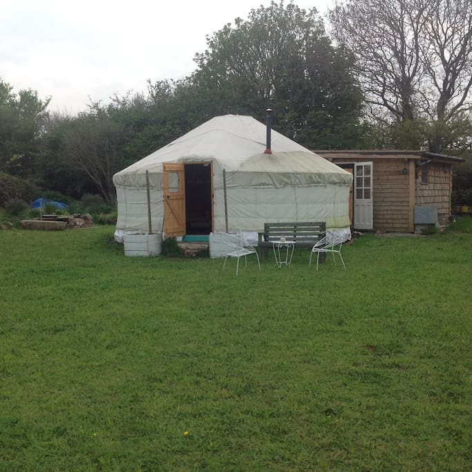 Front view of yurt