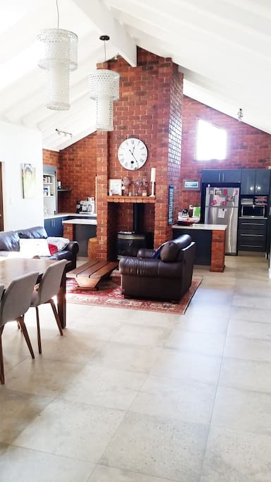 Character, modern style kitchen, dining with gas heater