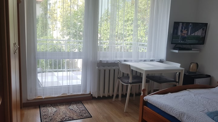 Room&terrace-own external bathroom in Gdansk Oliwa