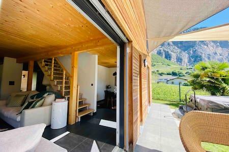 Belle maison style chalet avec jardin et jaccuzzi
