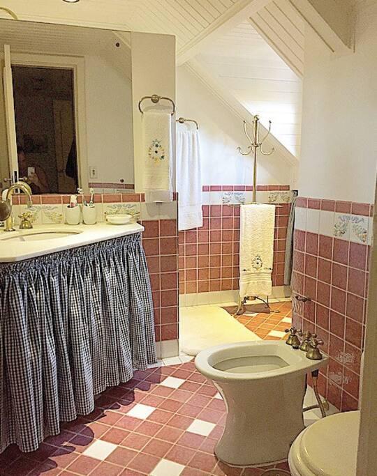 Banheiro da suíte principal com vista para araucárias