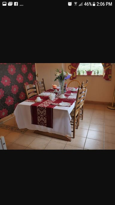Beautiful Table set up when guests arrive for Tea coffee and fresh scones