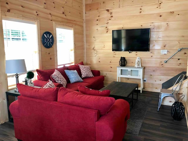 Great room with 20' ceiling with loft bunk area above