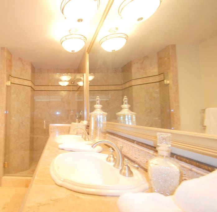 Master bathroom shower and vanity