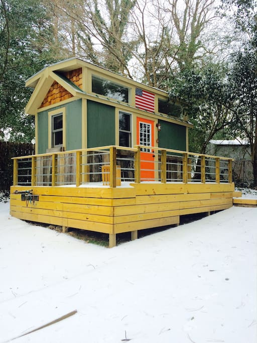 Tiny digs, in a winter wonderland. Quiet on the outside, cozy on the inside.