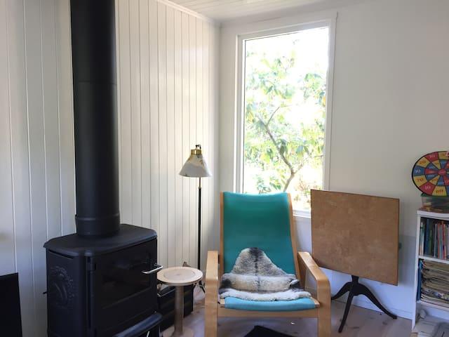 Living room, stove