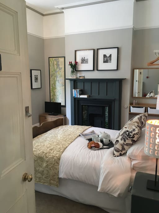 Sumptuous double bed with pocket sprung mattress, TV and dressing table.