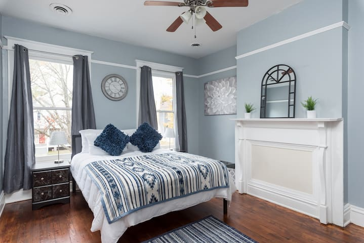 This is bedroom number one. As you come up the stairs it is directly to your left. Not pictured is a chest that matches with the nightstands.