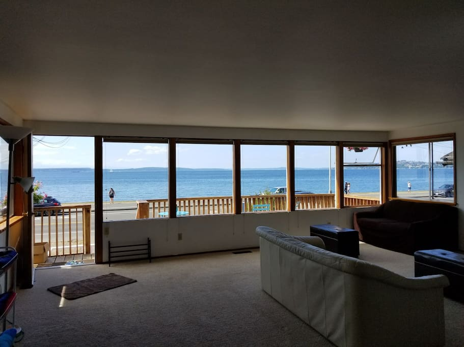 Puget Sound views from our large deck and spacious living room!