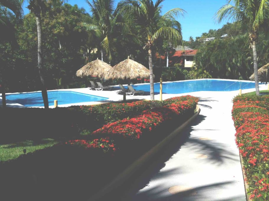 Only 60 yards from your condo you have the semi-Olympic swimming pool and large kiddy pool of Residencias Villa del Sol.